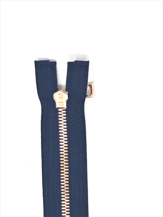 Wholesale Navy Glossy Rose Gold Two-Way Separating Zipper in 5MM Open Bottom - Choose Length - - ZipUpZipper