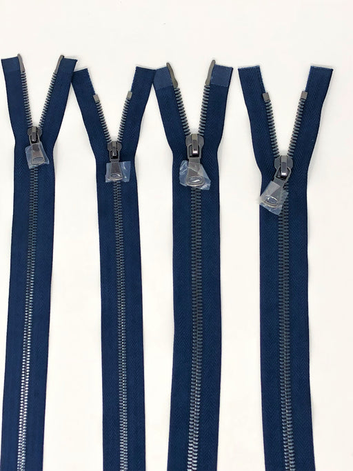 Wholesale Navy Glossy Gun Metal Two-Way Separating Zipper in 5MM or 8MM Open Bottom - Choose Length - - ZipUpZipper