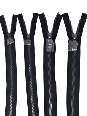 Wholesale Black Glossy Gun Metal Two-Way Separating Zipper in 5MM or 8MM Open Bottom - Choose Length -
