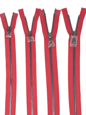 Wholesale Red Glossy Gun Metal Two-Way Separating Zipper in 5MM or 8MM Open Bottom - Choose Length -