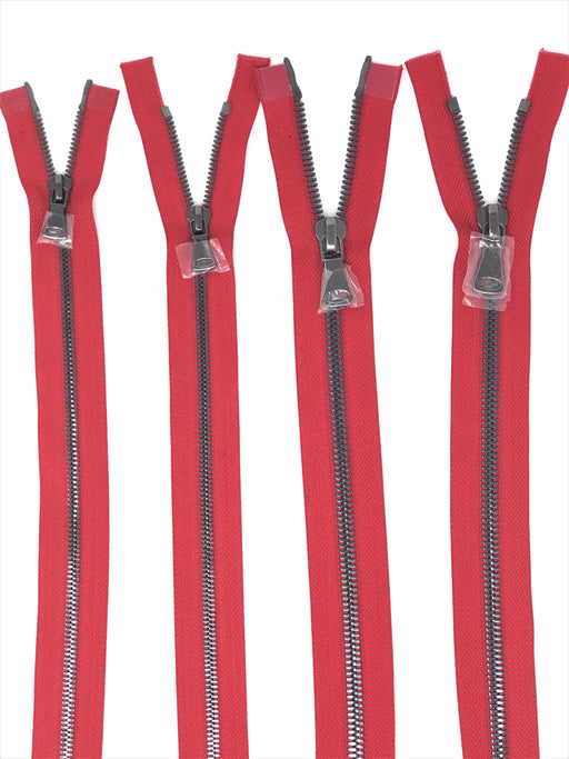 Wholesale Red Glossy Gun Metal Two-Way Separating Zipper in 5MM or 8MM Open Bottom - Choose Length - - ZipUpZipper