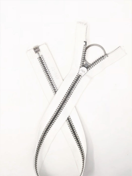Riri Zipper White 21 inches 8MM Polyester Tape Nickel Finish Separating - ZipUpZipper
