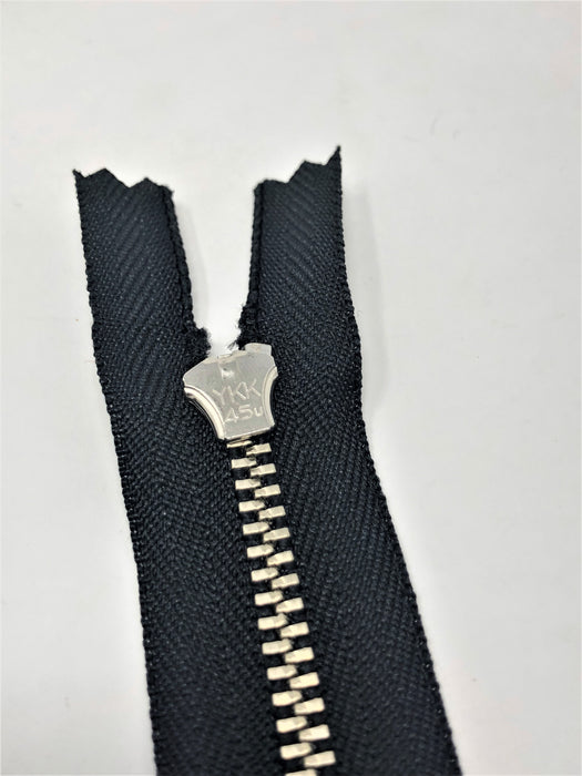 YKK 4.5MM #580 Black/Nickel Zipper Choose 4-9 Inches Closed Bottom (Sold By Single Pieces) - ZipUpZipper