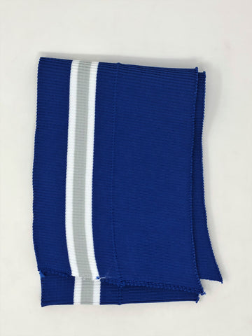 Wholesale Rib Knit Fabric Polyester Royal Blue /White Grey Stripes - ZipUpZipper