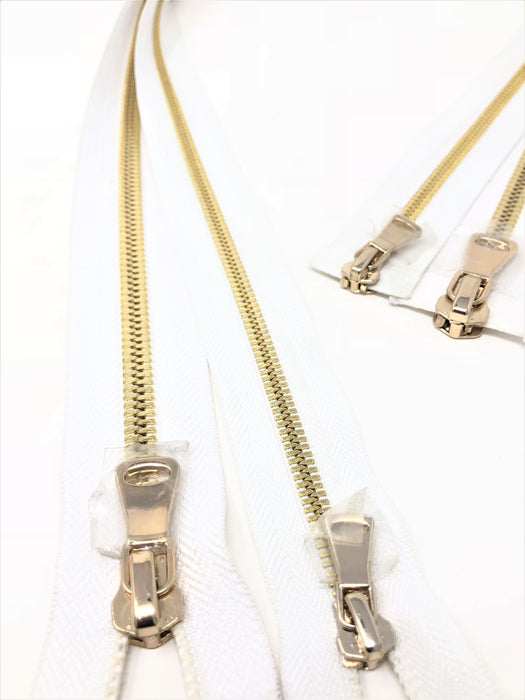 Wholesale White Glossy Brass Two-Way Separating Zipper in 5MM or 8MM Open Bottom - Choose Length - - ZipUpZipper