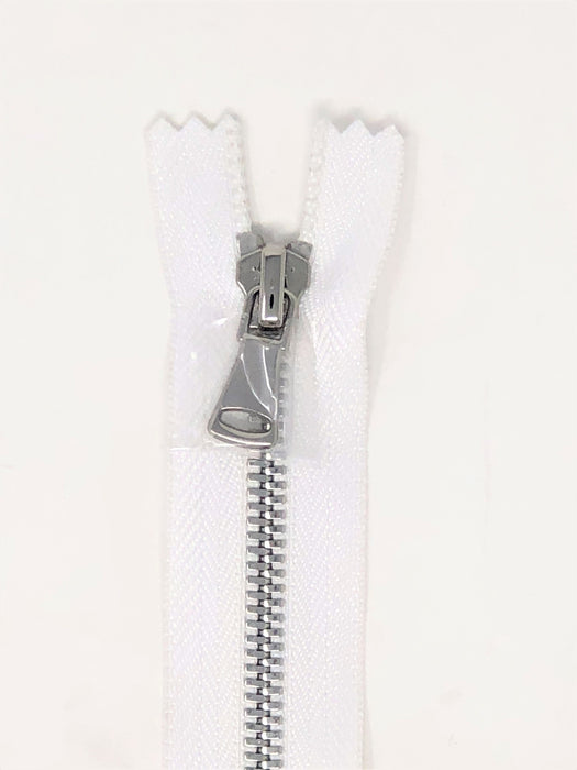 Wholesale White Glossy Pocket Zipper Silver Teeth 5MM or 8MM in 7 inches Closed Non Separating - ZipUpZipper