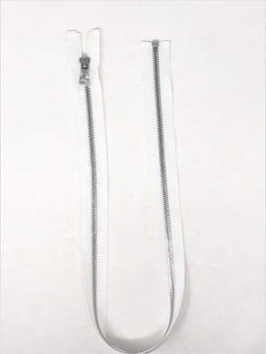 Wholesale White Glossy One-Way Jacket Zipper Silver Teeth 5MM Open Separating - Choose Length -