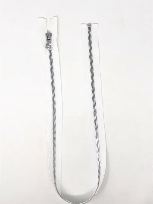 Wholesale White Glossy One-Way Jacket Zipper Silver Teeth 5MM Open Separating - Choose Length - - ZipUpZipper