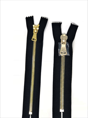 Wholesale Black Glossy Pocket Zipper Brass Teeth 5MM or 8MM in 7 inches Closed Non Separating