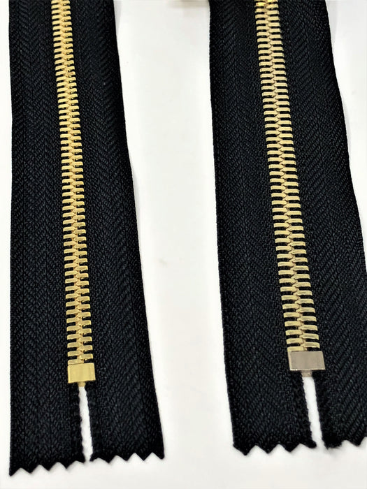 Wholesale Black Glossy Pocket Zipper Brass Teeth 5MM or 8MM in 7 inches Closed Non Separating - ZipUpZipper