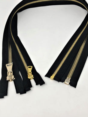 Wholesale Black Glossy One-Way Jacket Zipper 5MM OR 8MM Brass Teeth Separating - Choose Length -