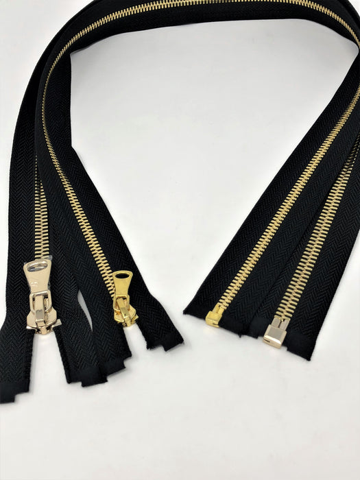Wholesale Black Glossy One-Way Jacket Zipper 5MM OR 8MM Brass Teeth Separating - Choose Length - - ZipUpZipper
