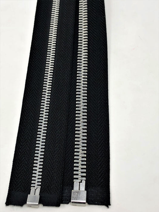 Wholesale Black Glossy One-Way Jacket Zipper 5MM OR 8MM Silver Teeth Separating - Choose Length - - ZipUpZipper