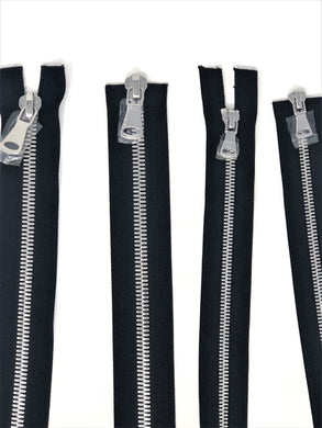 Wholesale Black Glossy Silver Two-Way Separating Zipper in 5MM or 8MM Open Bottom - Choose Length -