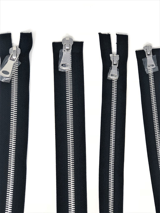 Wholesale Black Glossy Silver Two-Way Separating Zipper in 5MM or 8MM Open Bottom - Choose Length - - ZipUpZipper