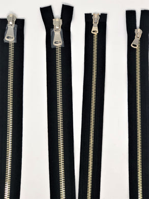 Wholesale Black Glossy Brass Two-Way Separating Zipper in 5MM or 8MM Open Bottom - Choose Length -