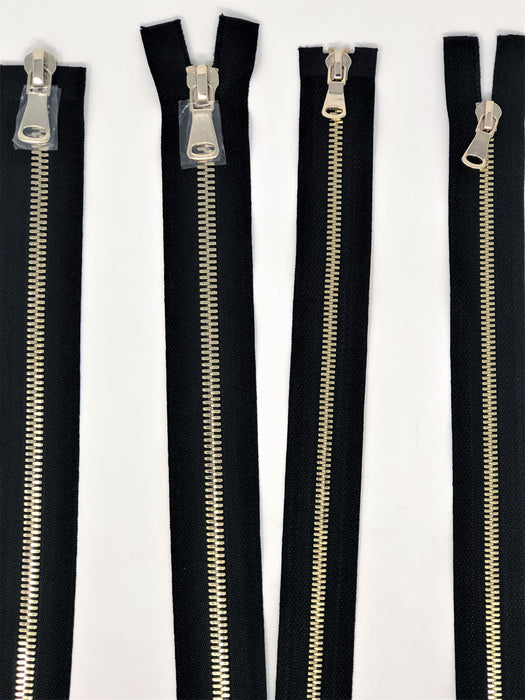 Wholesale Black Glossy Brass Two-Way Separating Zipper in 5MM or 8MM Open Bottom - Choose Length - - ZipUpZipper