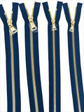 Wholesale Navy Glossy Brass Two-Way Separating Zipper in 5MM or 8MM Open Bottom - Choose Length - - ZipUpZipper