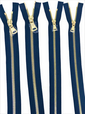Wholesale Navy Glossy Brass Two-Way Separating Zipper in 5MM or 8MM Open Bottom - Choose Length -