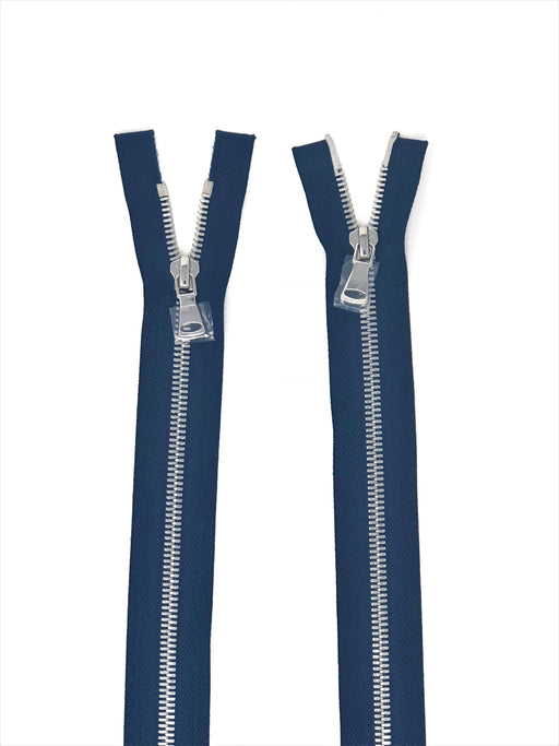 Wholesale Navy Glossy Nickel Two-Way Separating Zipper in 5MM Open Bottom - Choose Length - - ZipUpZipper