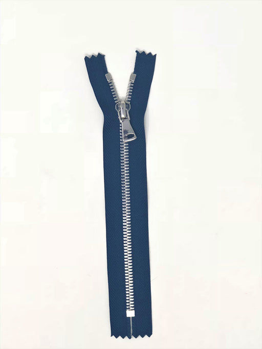 Wholesale Navy Glossy Pocket Zipper Silver Teeth 5MM in 7 inches Closed Non Separating - ZipUpZipper