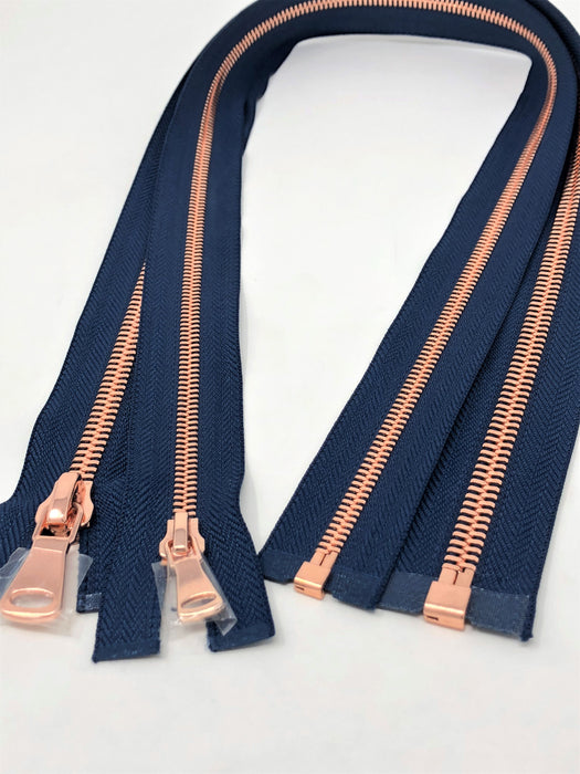 Wholesale Navy Glossy One-Way Jacket Zipper 5MM OR 8MM Rose Gold Teeth Separating - Choose Length - - ZipUpZipper