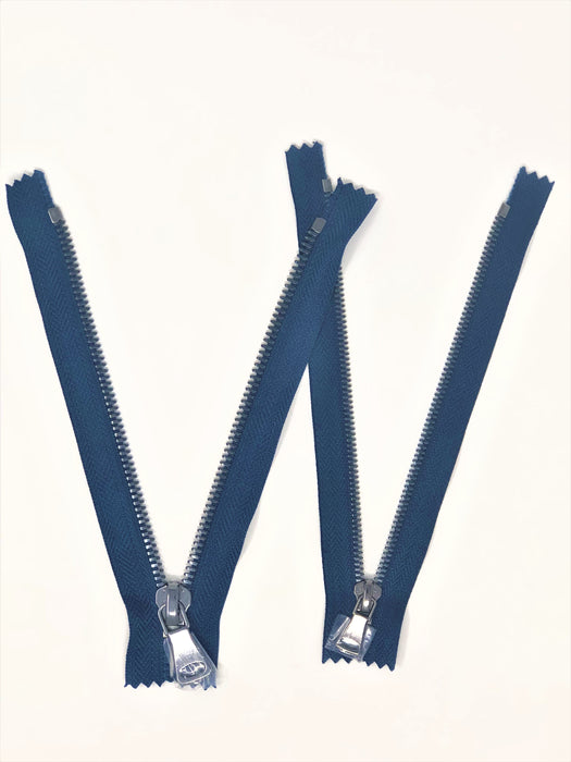Wholesale Navy Glossy Pocket Zipper Gun Metal Teeth 5MM or 8MM in 7 inches Closed Non Separating - ZipUpZipper