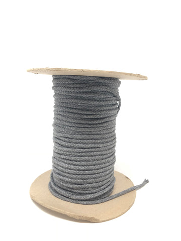 "Soft Grey Round Drawstring Cord By Yard 1/2"" - ZipUpZipper"