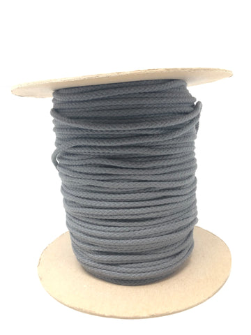 "Dark Grey Round Cotton Drawstring Cord By Yard 1/2"" - ZipUpZipper"