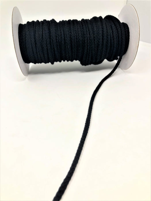 "Black Round Drawstring Cord By Yard 1/2"" - ZipUpZipper"