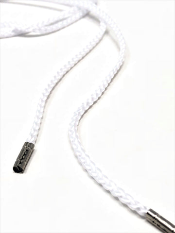 Wholesale White Round Polyester Drawstring Cord Silver Round Metal Tip - ZipUpZipper