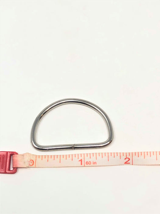 "Metal D Ring 1.5""  Nickel Plated Loop Ring - ZipUpZipper"
