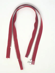 Red Riri Zipper Nickel 6MM Teeth 19 inches Separating, Open Bottom for Jackets, Coats, Sportswear, Outerwear, and More