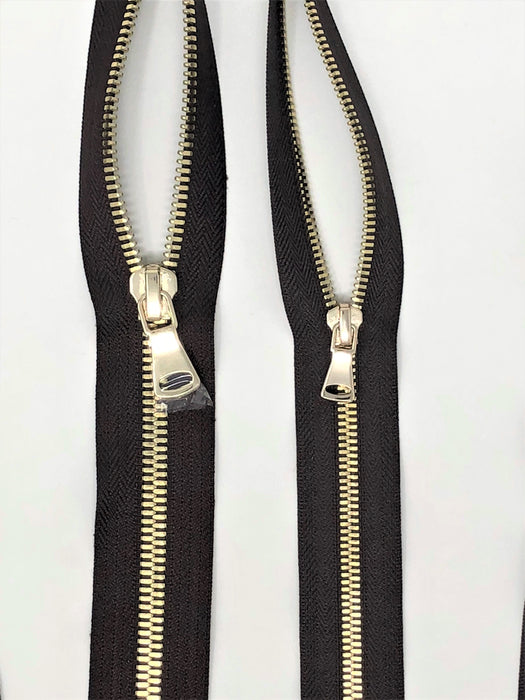Brown Glossy Two-Way Backpack or Luggage Zipper 5MM or 8MM Brass Teeth Closed - ZipUpZipper