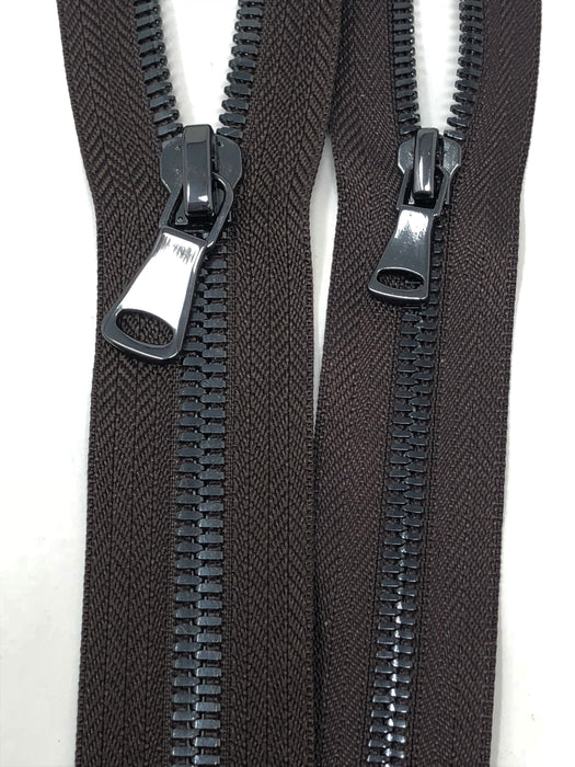 Brown Glossy Two-Way Backpack or Luggage Zipper 5MM or 8MM Gun Metal Teeth Closed - ZipUpZipper