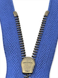 Raccagni FISSA 6.5 inch/16.5 cm Blue Tape, Antique Brass Closed Zipper 4MM