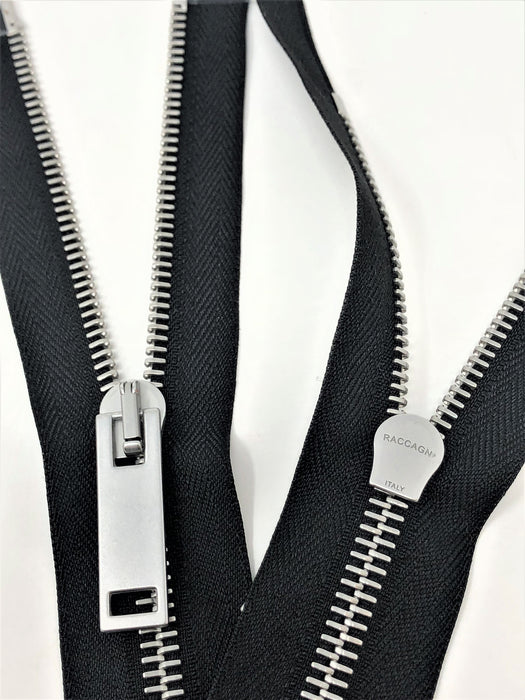Raccagni COMBY 31 inch/79 cm Black Tape, Nickel Two-Way Separating Zipper 5MM