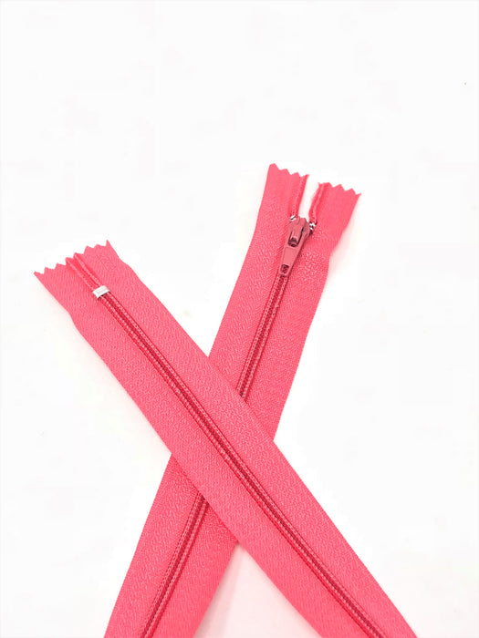 Flamingo Pink #815 Generic Nylon Zippers 12-22 Inches #3 Coil Closed Bottom