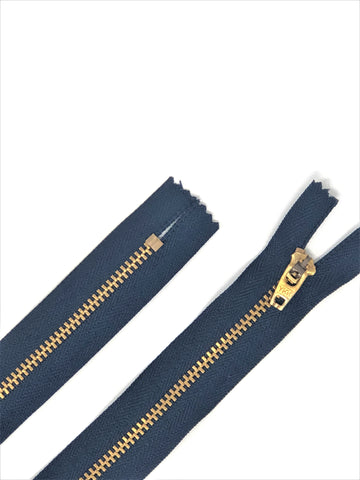 100 YKK 4.5MM Navy/Brass Zipper Choose 4-9 Inches Closed Bottom