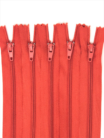 Orange 7 inch Nylon Zippers #3 Closed Bottom Wholesale (100 Zippers) Per Order