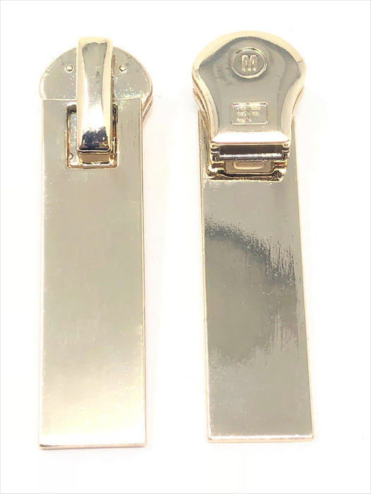 Rectangular Glossy Metal Puller Zipper 8mm in Light Brass