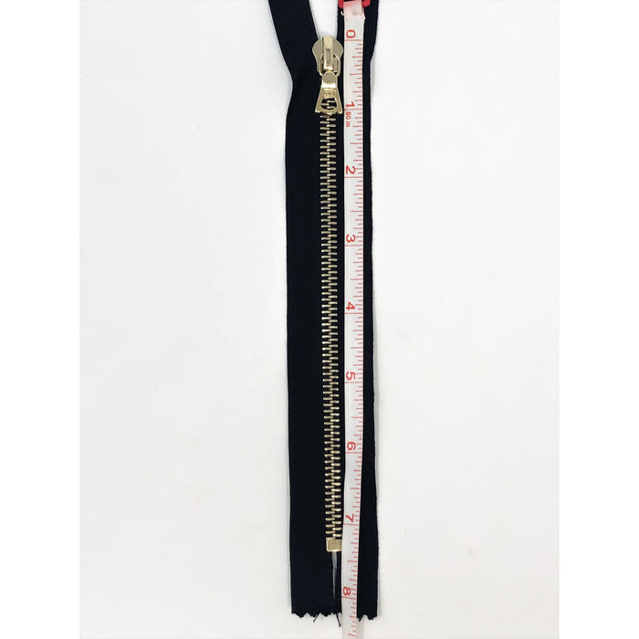 Black Riri Zipper 6MM Brass Teeth, Closed Bottom 7 inches