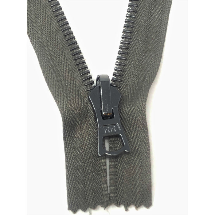 Olive Riri Reversible Zipper 6MM Gun Metal Teeth, Closed Bottom 4.5 inches