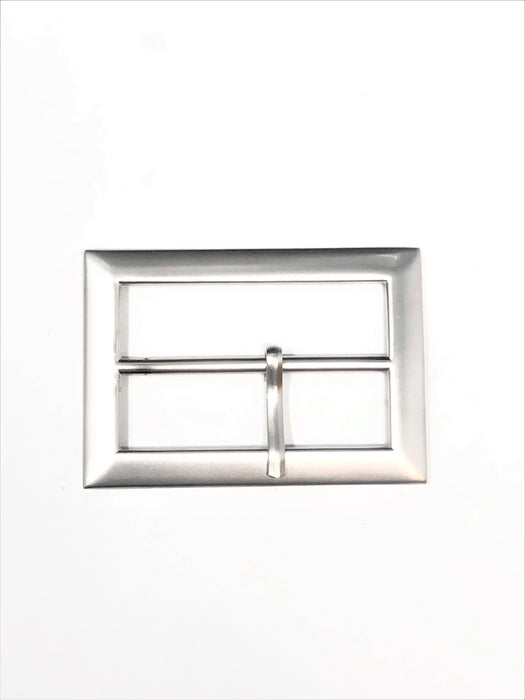 Matte Silver Rectangular Belt Buckle 2 inches