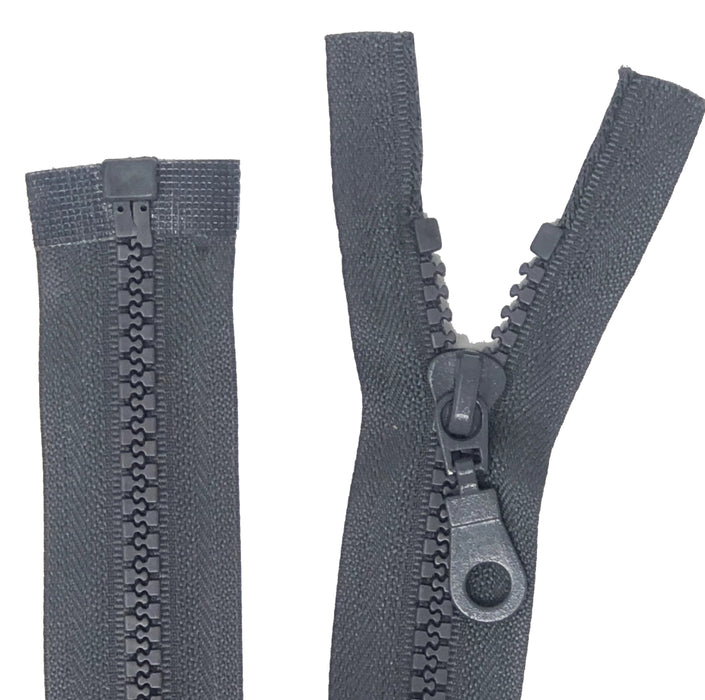 Grey 17 Inch Molded Plastic Jacket Zipper 5MM Open Bottom