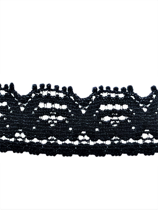 Half Inch Wide Black Floral Lace Trim By Yard