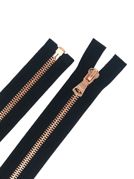 Black Metal Glossy Jacket Separating Zipper Black Tape Rose Gold Copper Teeth Size 5mm or 8mm - Choose Length-