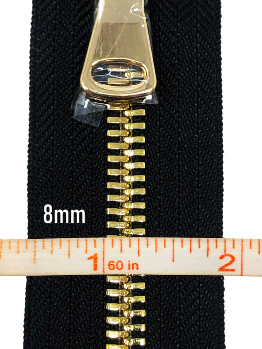 Black Metal Glossy Jacket Separating Zipper Black Tape Gold/Brass Teeth Size 5mm or 8mm - Choose Length-
