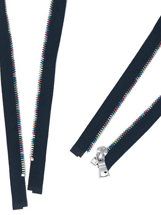 Wholesale Rainbow Metal 5mm Separating Jacket Zippers Nickel Pull Open Bottom -Choose Length-