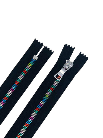 Rainbow Metal 5mm Non-Separating Pocket Zippers Nickel Pull Closed Bottom